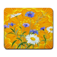 Flowers Daisy Floral Yellow Blue Large Mousepads