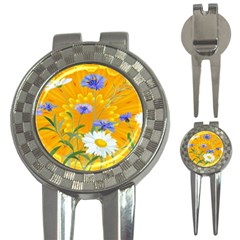 Flowers Daisy Floral Yellow Blue 3 In 1 Golf Divots