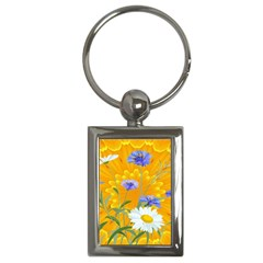Flowers Daisy Floral Yellow Blue Key Chains (rectangle)