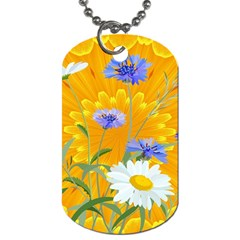 Flowers Daisy Floral Yellow Blue Dog Tag (two Sides)
