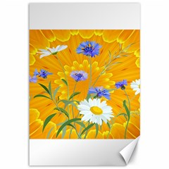 Flowers Daisy Floral Yellow Blue Canvas 12  X 18