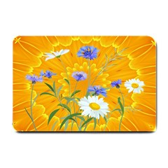 Flowers Daisy Floral Yellow Blue Small Doormat