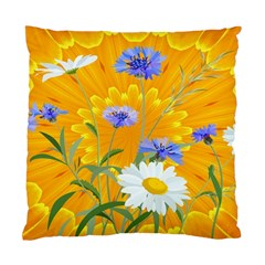 Flowers Daisy Floral Yellow Blue Standard Cushion Case (two Sides) by Simbadda