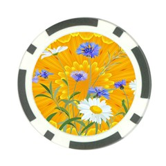 Flowers Daisy Floral Yellow Blue Poker Chip Card Guard (10 Pack)