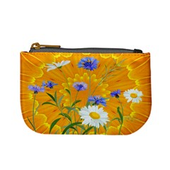 Flowers Daisy Floral Yellow Blue Mini Coin Purses