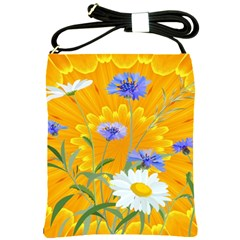 Flowers Daisy Floral Yellow Blue Shoulder Sling Bags