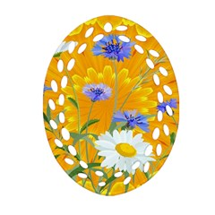 Flowers Daisy Floral Yellow Blue Ornament (oval Filigree)
