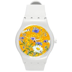 Flowers Daisy Floral Yellow Blue Round Plastic Sport Watch (m) by Simbadda