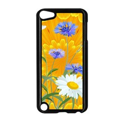 Flowers Daisy Floral Yellow Blue Apple Ipod Touch 5 Case (black)