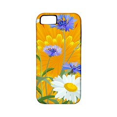 Flowers Daisy Floral Yellow Blue Apple Iphone 5 Classic Hardshell Case (pc+silicone)