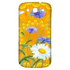 Flowers Daisy Floral Yellow Blue Samsung Galaxy S3 S Iii Classic Hardshell Back Case