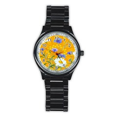 Flowers Daisy Floral Yellow Blue Stainless Steel Round Watch
