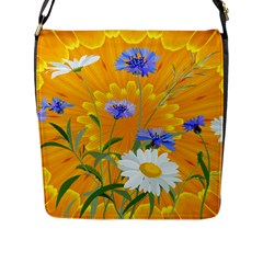 Flowers Daisy Floral Yellow Blue Flap Messenger Bag (l)  by Simbadda