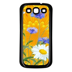 Flowers Daisy Floral Yellow Blue Samsung Galaxy S3 Back Case (black)