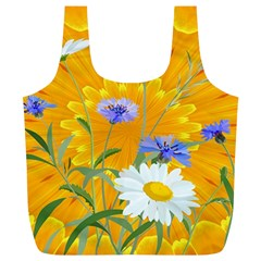 Flowers Daisy Floral Yellow Blue Full Print Recycle Bags (l)