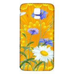 Flowers Daisy Floral Yellow Blue Samsung Galaxy S5 Back Case (white)