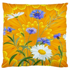 Flowers Daisy Floral Yellow Blue Standard Flano Cushion Case (one Side)