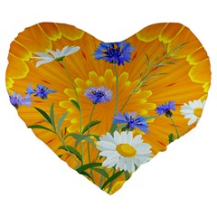 Flowers Daisy Floral Yellow Blue Large 19  Premium Flano Heart Shape Cushions