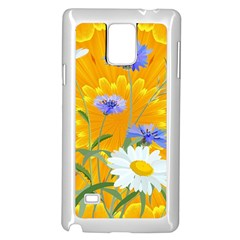 Flowers Daisy Floral Yellow Blue Samsung Galaxy Note 4 Case (white) by Simbadda