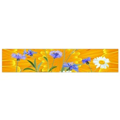 Flowers Daisy Floral Yellow Blue Small Flano Scarf