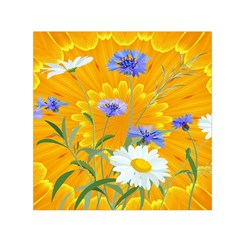 Flowers Daisy Floral Yellow Blue Small Satin Scarf (square)