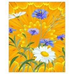 Flowers Daisy Floral Yellow Blue Drawstring Bag (small)