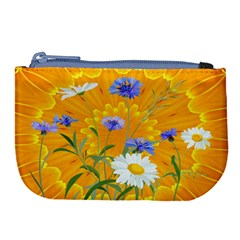 Flowers Daisy Floral Yellow Blue Large Coin Purse