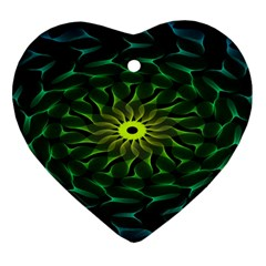 Abstract Ribbon Green Blue Hues Heart Ornament (two Sides)
