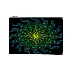 Abstract Ribbon Green Blue Hues Cosmetic Bag (large)