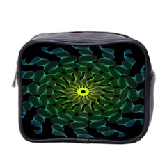 Abstract Ribbon Green Blue Hues Mini Toiletries Bag 2 Side
