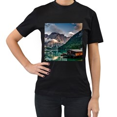 Italy Mountains Pragser Wildsee Women s T Shirt (black) (two Sided)