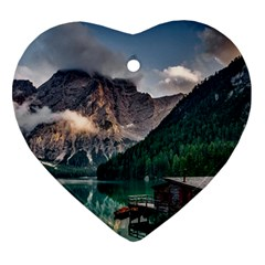 Italy Mountains Pragser Wildsee Heart Ornament (two Sides)