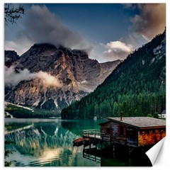 Italy Mountains Pragser Wildsee Canvas 16  X 16
