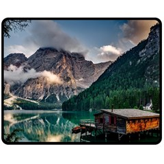 Italy Mountains Pragser Wildsee Fleece Blanket (medium)