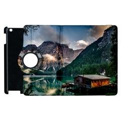 Italy Mountains Pragser Wildsee Apple Ipad 2 Flip 360 Case