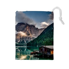 Italy Mountains Pragser Wildsee Drawstring Pouches (large)