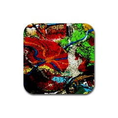 Coffee Land 1 Rubber Square Coaster (4 Pack)