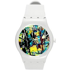 Dance Of Oil Towers 3 Round Plastic Sport Watch (m)
