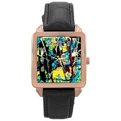 Dance Of Oil Towers 3 Rose Gold Leather Watch