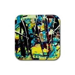 Dance Of Oil Towers 3 Rubber Square Coaster (4 Pack)