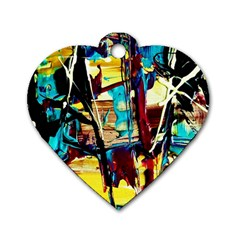 Dance Of Oil Towers 4 Dog Tag Heart (two Sides) by bestdesignintheworld