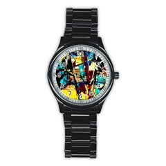 Dance Of Oil Towers 4 Stainless Steel Round Watch