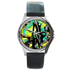 Dance Of Oil Towers 5 Round Metal Watch