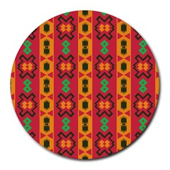 Tribal Shapes In Retro Colors                                 Round Mousepad