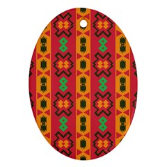 Tribal Shapes In Retro Colors                                 Ornament (oval)