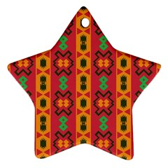 Tribal Shapes In Retro Colors                                 Ornament (star) by LalyLauraFLM