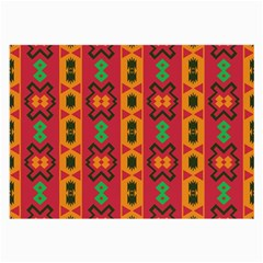 Tribal Shapes In Retro Colors                                 Large Glasses Cloth