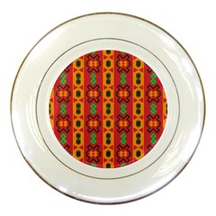 Tribal Shapes In Retro Colors                                 Porcelain Plate