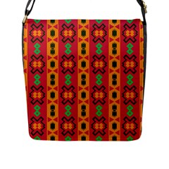 Tribal Shapes In Retro Colors                                 Flap Closure Messenger Bag (l)
