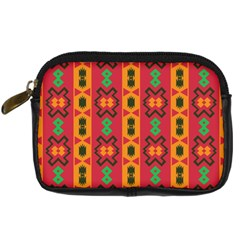 Tribal Shapes In Retro Colors                            Digital Camera Leather Case